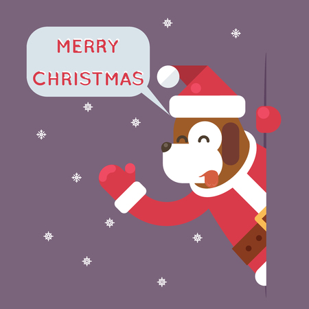 greating card: Dog 2018 Merry Christmas Santa Looking Out Corner Cartoon Character Card Greeting Flat Design Vector Illustration Illustration