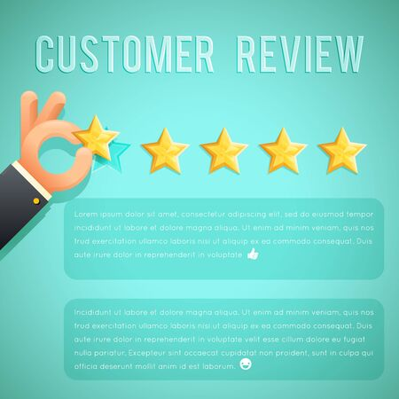 five stars: Star rating review customer experience hand text template background cartoon business design concept vector illustration