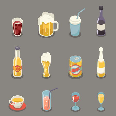 tin: Isometric Retro Flat Alcohol Beer Juice Tea Wine Drink Icons and Symbols Set Vector Illustration