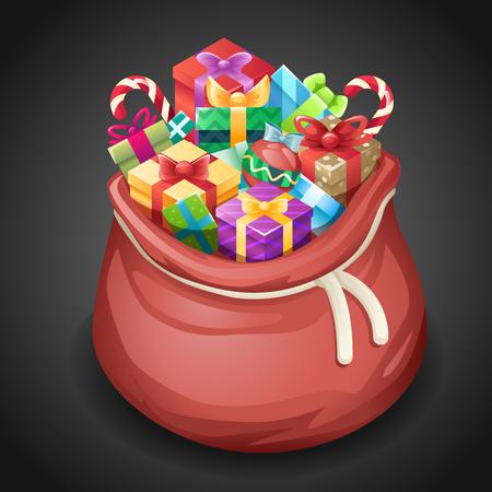 Santa Gifts Bag New Year Christmas Cartoon Design Isometric 3d Icon Template Vector Illustration