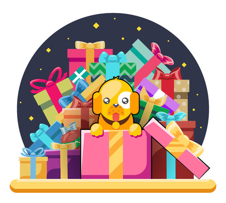 Cute cartoon baby yellow dog cub gift box pile of gifts 2018 year flat design head icons set character vector illustration