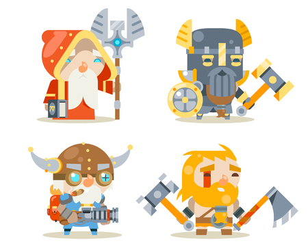 Dwarfs Warrior Defender Rune Mage Priest Berserker Engineer Inventor Worker Fantasy RPG Game Character Vector Icons Set Vector Illustration