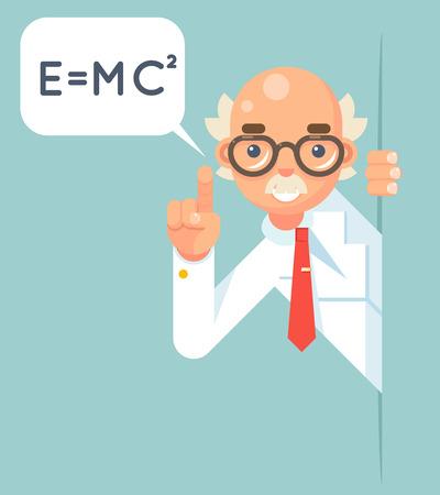 Consulente scientifico di consulenza di aiuto di sostegno di istruzione di sostegno dello scienziato del consulente che guarda fuori l'illustrazione piana di vettore di progettazione della soluzione del personaggio dei cartoni animati di angolo