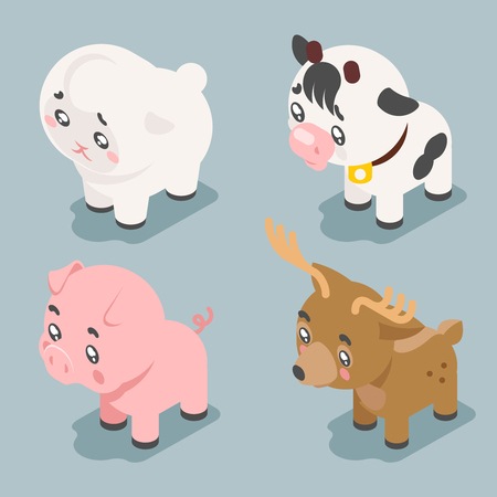 Isometric 3d cute baby animals cartoon cubs flat design icons set character vector illustration Illustration