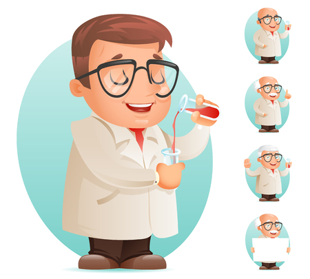 Scientist with Test-tube Icon Retro 3d Cartoon Design Character Mobile Game Vector Illustration