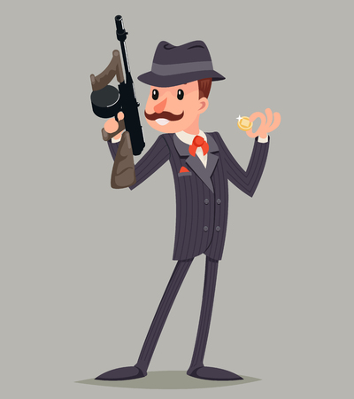 mobster: Gangster with Submachine Gun Thug Criminal Character Icon Retro Cartoon Design Vector Illustration Illustration