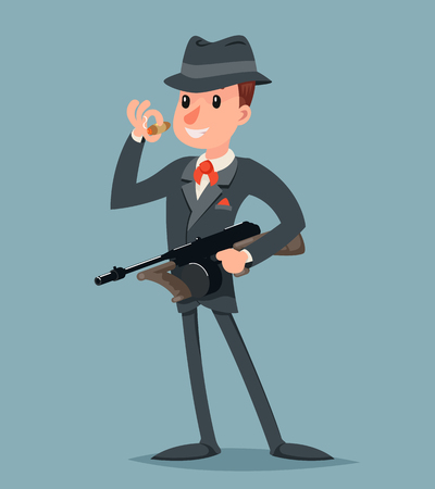 Retro Gangster with Submachine Gun Thug Criminal Character Icon Retro Cartoon Design Vector Illustration Illustration