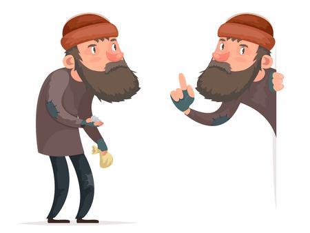 Armer männlicher Obdachloser Bum Character Icon lokalisierte Karikatur-Design-Schablonen-Vektor-Illustration