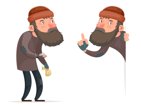 Poor Male Homeless Bum Character Icon Isolated Cartoon Design Template Vector Illustration