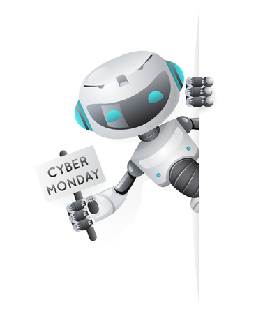 Cyber Monday robot look out corner poster in hand technology science fiction future cute little sale 3d design vector illustration