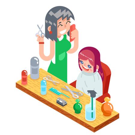 Isometric children, teenager hairdresser character vector Illustration.