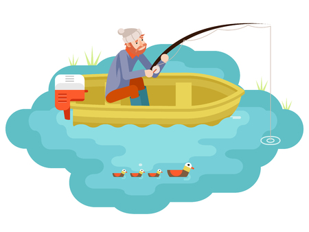 Lake fishing adult fisherman Vector Illustration.