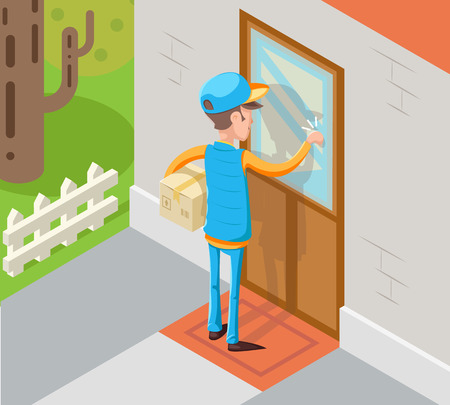 knocking: Isometric express courier special delivery boy vector illustration. Illustration