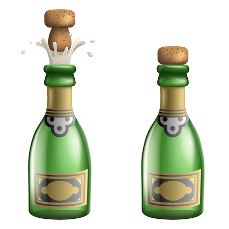 Champagne Popping Cork Bottle Pledge Celebration Success Prosperity Symbol Drink Icon 3d Realistic Template Vector Illustration.