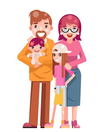 Family Concept Cute Happy Young Mother Father Daughter Flat Design Isolated Template Icon Vector Illustration