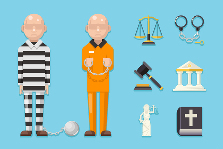 Prisoner law justice icons characters symbols set flat icon vector illustration