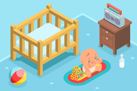 Isometric cute child kid nursery room flat design character icon vector illustration Illustration