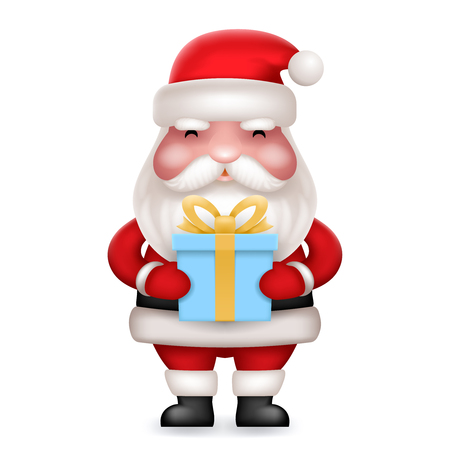 Gift Box Present Cute 3d Realistic Cartoon Santa Claus Toy Character Icon Isolated Vector Illustration Illustration