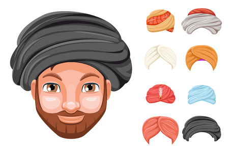 Photo decoration turban fashion headdress arab indian culture sikh sultan bedouin cute beautiful man head hat isolated icons set cartoon design video chat effects portrait mobile phone vector illustration Imagens - 90649707