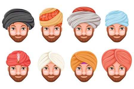 Fashion turban headdress arab indian culture sikh sultan bedouin cute beautiful man head hat isolated icons set cartoon design video chat effects photo portrait vector illustration Vectores