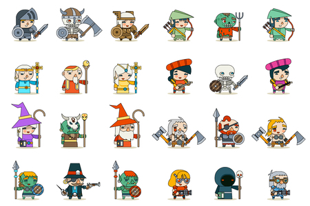 Lineart Male Female Fantasy RPG Game Character Vector Icons Set Vector Illustration Stock Vector - 90922699