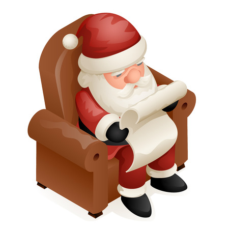 Sit Armchair Read Gift List Cute Isometric 3d Christmas Santa Claus Frost Grandfather New Year Cartoon Design Isolated Icon Template Vector Illustration Illustration