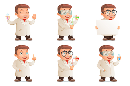 Retro 3d Scientist Young Cute Test-tube Icons Set Cartoon Design Character Vector Illustration