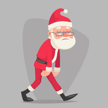 Tired Sad Weary Santa Claus Vintage Character Walk Icon Retro Christmas Cartoon Design Vector Illustration Illustration