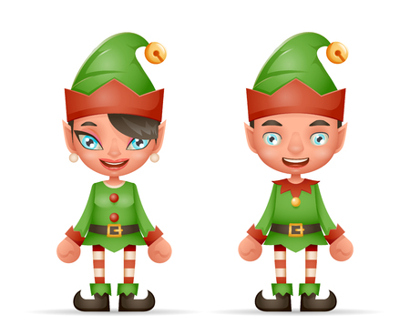 Cute Cartoon Elf Boy And Girl Characters Christmas Santa Teen Icons New Year Holiday 3d Realistic Design Vector Illustration