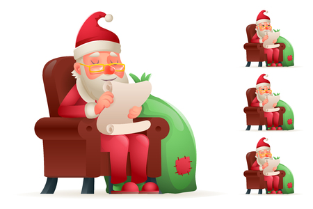 Armchair Sit Christmas Santa Claus Pleased Happy Satisfied Gift Bag Cartoon Tired Sad Weary Character Design Isolated Set Vector Illustration Illustration