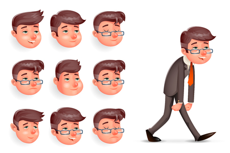 Emotions Pleased Happy Satisfied Tired Weary Fatigue Melancholy Sad Walk Businessman Cartoon Design Character.