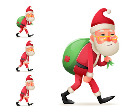 Pleased Happy Satisfied Christmas Santa Claus Heavy Gift Bag Cartoon Walk Tired Sad Weary Character Design Isolated Set Vector Illustration Illustration