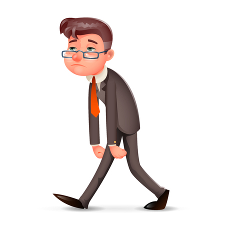 Tired Weary Fatigue Melancholy Sad Businessman Walk Retro Cartoon Design Vintage Character Icon Isolated Vector Illustration