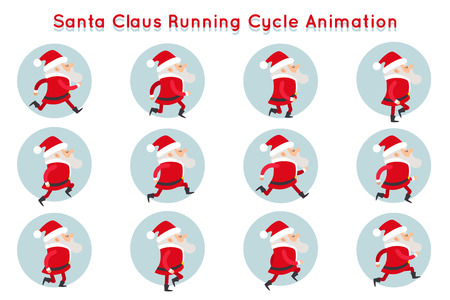 Cute Santa Claus Funny Running Cycle Animation Cartoon Character Frames Isolated Vector Illustration