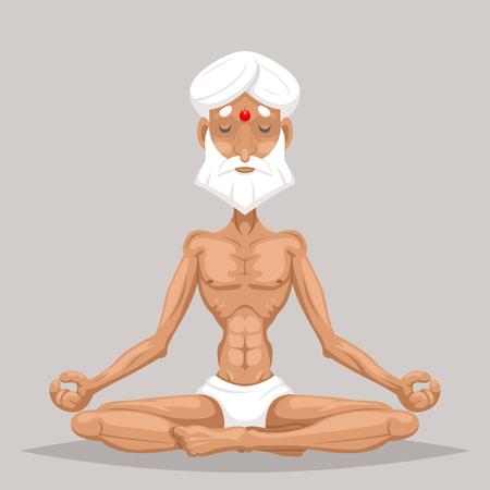 Meditation Elderly Old Master Yoga Wisdom Health Cartoon Character Icon Design Vector Illustration