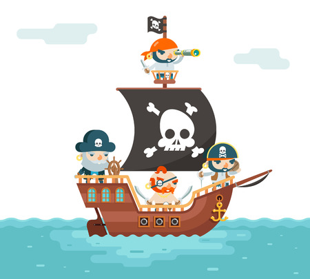 Pirate Ship crew Buccaneer Filibuster Corsair Sea Dog Sailors Captain Fantasy RPG Game Treasure Character Flat Design Vector Illustration