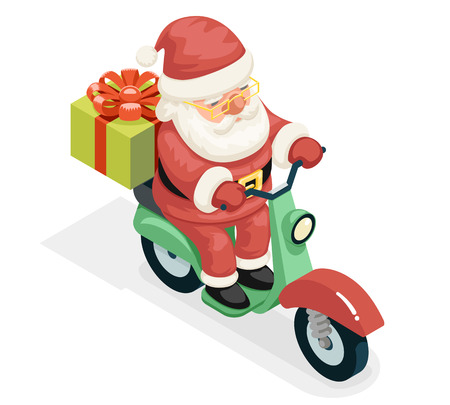 Isometric 3d Gift Box Santa Claus Delivery Courier Scooter Symbol Box Icon Concept Cartoon Isolated Flat Design Vector Illustration Illustration