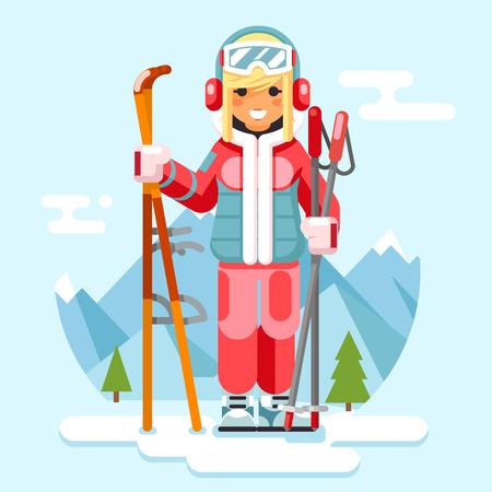 Cute skier girl ski winter sport holidaysresort skiing mountain flat design vector illustration