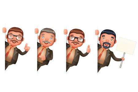 ●ビジネスマンは角を見る可愛い男3Dリアルな漫画キャラクターデザイン孤立したセットベクトルイラスト。