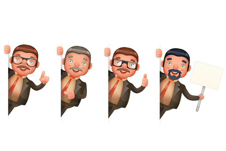 Businessman Look Out Corner Cute Man 3d Realistic Cartoon Character Design Isolated Set Vector Illustration. Çizim