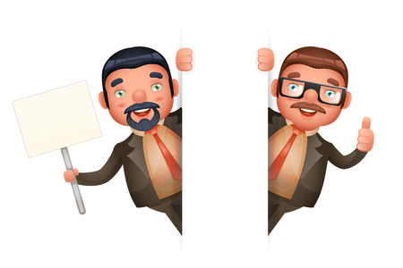 Look Out Corner Cute Businessman Man 3d Realistic Cartoon Character Isolated Design Vector Illustration Vettoriali