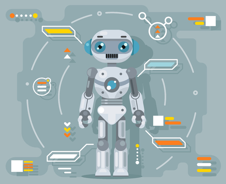 Robot android artificial intelligence futuristic information interface design flat vector illustration.