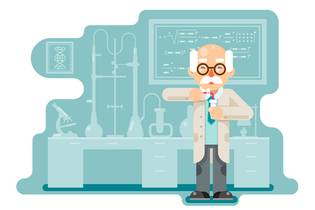 Experiment old wise smart scientist laboratory chemical transfuse chemical reagents test tubes flat design vector illustration
