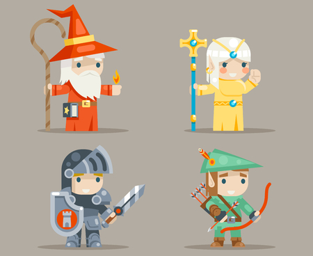 Warrior Mage Priest Archer Fantasy RPG Game Human Elf Character Vector Icons Set Vector Illustration  イラスト・ベクター素材