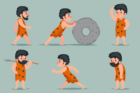 Ancient Cave Man Character Different Positions Actions Icons Set Cartoon Design Vector Illustration Illustration