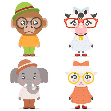 Van de de aapaap van de schapenkoe van de de olifants leuke dierlijke meisje van het de jongensmascotte het beeldverhaalpictogrammen vlakke ontwerp vectorillustratie Stock Illustratie