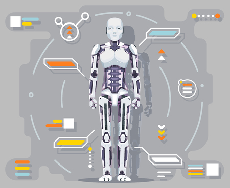 Android artificial intelligence robot futuristic information interface flat design vector illustration