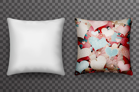 Realistic 3d Soft Pillow Sleep Transparent Background Icon Template Mockup Design Vector Illustration Vectores