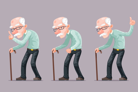 Bent Old Man Cane Wise Moral Preaching Instruction Old Cartoon Character Design Vector Illustration Illustration