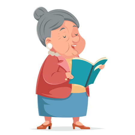 Book Reading Grandmother Old Woman Granny Character Adult Icont Cartoon Design Vector Illustration Illustration